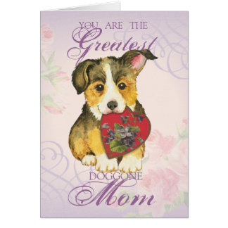 Pembroke Welsh Corgi Heart Mom Card