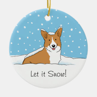 Pembroke Welsh Corgi Let it Snow - Holiday Dog Round Ceramic Ornament