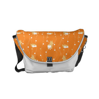 pembroke welsh corgi line and circular handle messenger bag