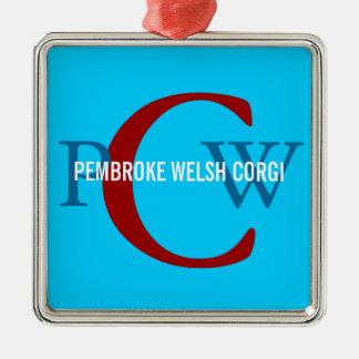 Pembroke Welsh Corgi Monogram Design Silver-Colored Square Ornament