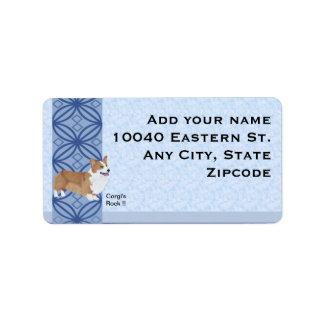 Pembroke Welsh Corgi on blue print Label
