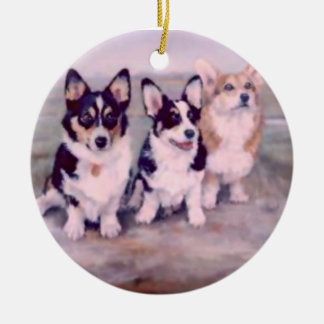 PEMBROKE WELSH CORGI-ORNAMENT ROUND CERAMIC ORNAMENT