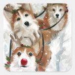 pembroke welsh Corgi Rudolph Christmas Reindeer Square Stickers