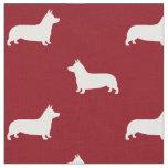 Pembroke Welsh Corgi Silhouettes Pattern Fabric