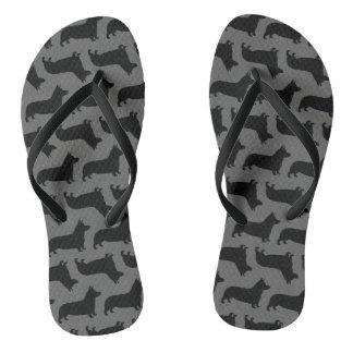 Pembroke Welsh Corgi Silhouettes Pattern Flip Flops