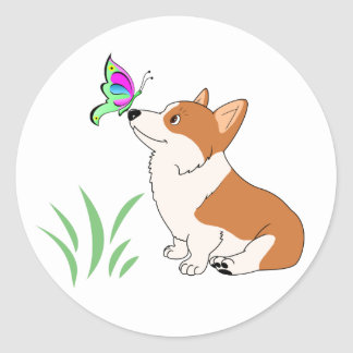 Pembroke Welsh Corgi with Butterfly Classic Round Sticker