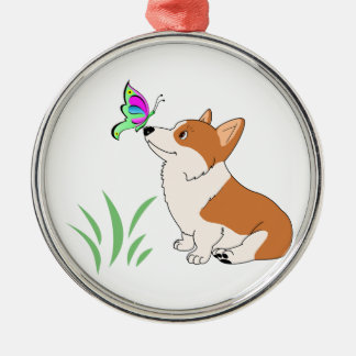 Pembroke Welsh Corgi with Butterfly Silver-Colored Round Ornament