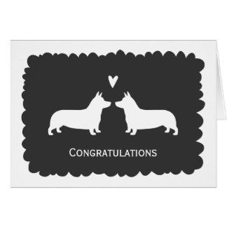 Pembroke Welsh Corgis Wedding Congratulations Card
