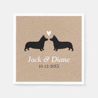 Pembroke Welsh Corgis Wedding Couple with Text Napkin