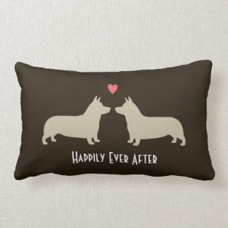 Pembroke Welsh Corgis with Heart and Text Lumbar Pillow