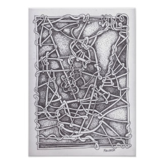 """Pen and Ink Drawing : """"String"""" Poster"""