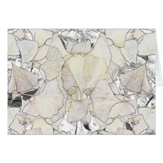 Pen and ink image of gingko leaves card