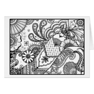Pen and Ink Mehndi Inspired Greeting Card