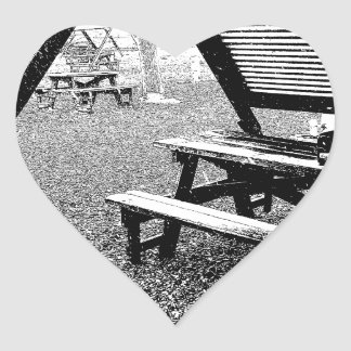 Pen and Ink Picnic Table Heart Sticker