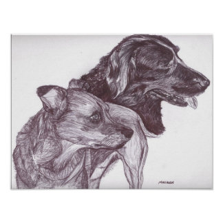 """Pen and Ink Print - """"Two Dogs"""""""