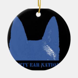 PEN Blue on black Ceramic Ornament