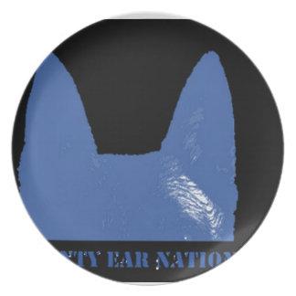PEN Blue on black Party Plates