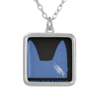 PEN Blue on black Silver Plated Necklace