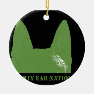 PEN Green on black Ceramic Ornament