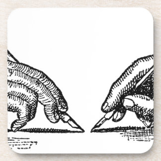 Pen Is Mightier Than the Sword Writer's Hands Beverage Coasters