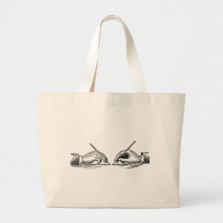 Pen Is Mightier Than the Sword Writer's Hands Large Tote Bag