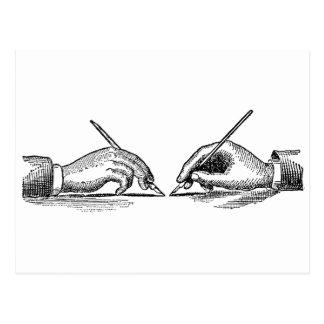 Pen Is Mightier Than the Sword Writer's Hands Postcard