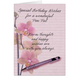 Pen Pal Birthday Card with floral writing paper