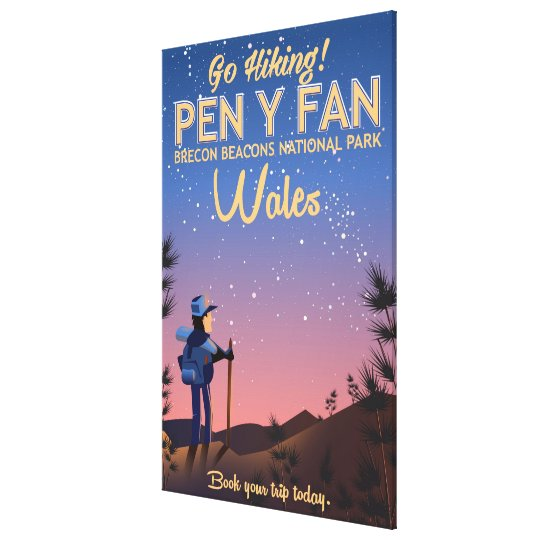 Pen Y Fan Wales hiking travel poster Canvas Print