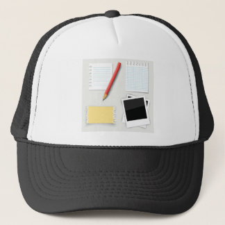 pencil and paper trucker hat