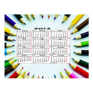 Pencil Calendar 2013 Postcard