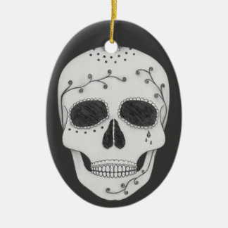 Pencil Drawing Day of the Dead Sugar Skull Ceramic Oval Ornament