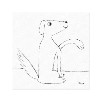 Pencil Drawing Dog Canvas Wall Art