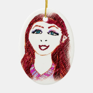 Pencil Drawing of Wish Ceramic Oval Ornament