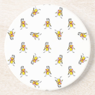 Pencil Drawing Scarecrows Pattern Design Coaster