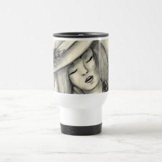 pencil drawing sleeping girl cup