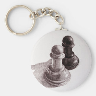 Pencil Drawn Pawns Chess Keychain