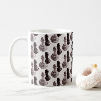 Pencil Drawn Pawns Pattern Chess Coffee Mug