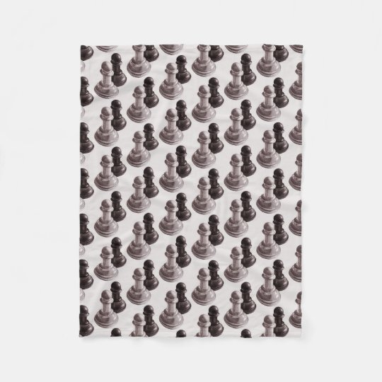 Pencil Drawn Pawns Pattern Chess Fleece Blanket