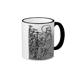 pencil Drummer charcoal Ringer Mug