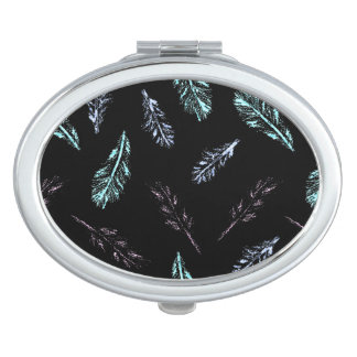 Pencil Feathers Oval Compact Mirror