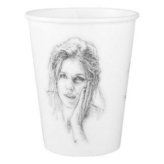 Pencil portrait paper cup
