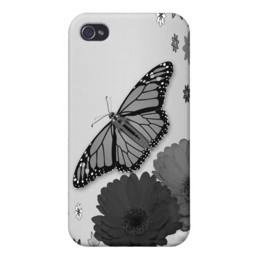 Pencil Sketch Floral Butterfly Flower iPhone Case iPhone 4/4S Covers