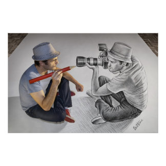 Pencil Vs Camera - 3D Mirror Poster