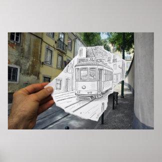 Pencil Vs Camera - Lisbon Tram Poster