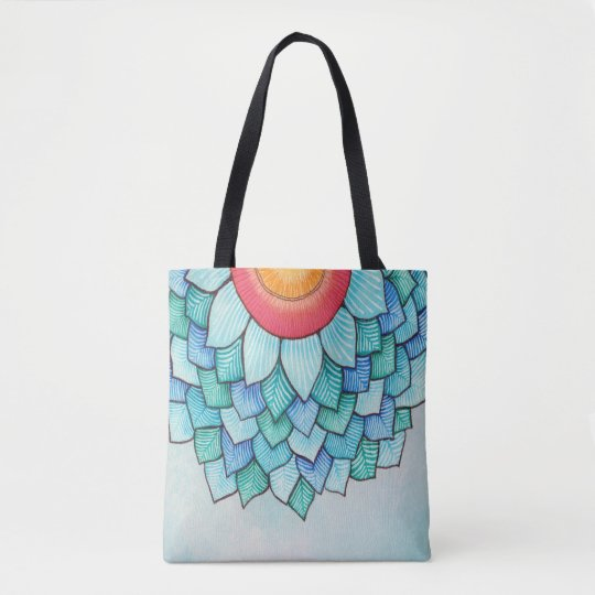 Pencil Watercolor Tropical Flower Tote Bag