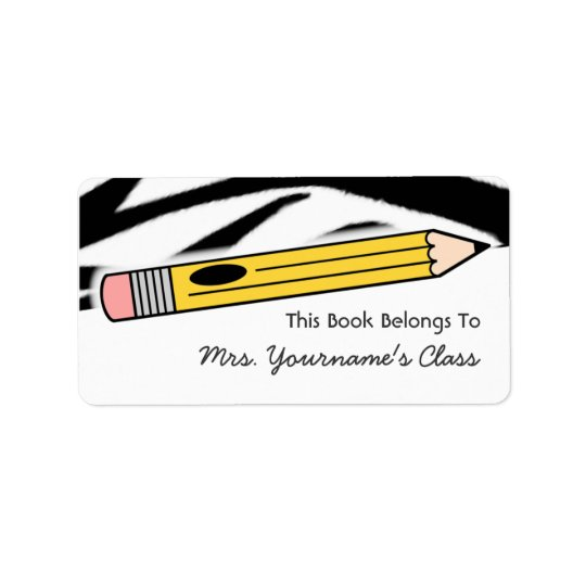 Pencil & Zebra Print School Book Label