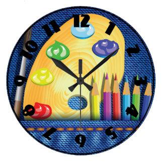 Pencils And Paintbrush Clock