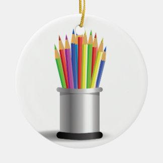 pencils ceramic ornament