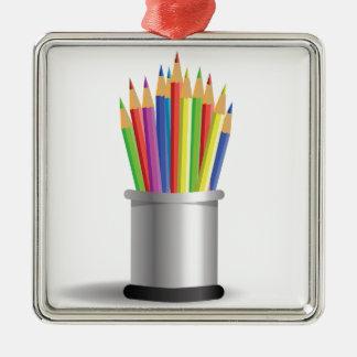 pencils metal ornament