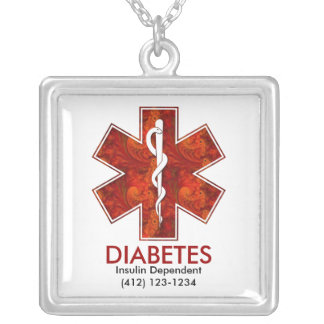 Pendentif carré médical de diabète :